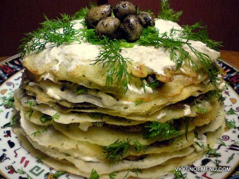 блинный торт с грибами